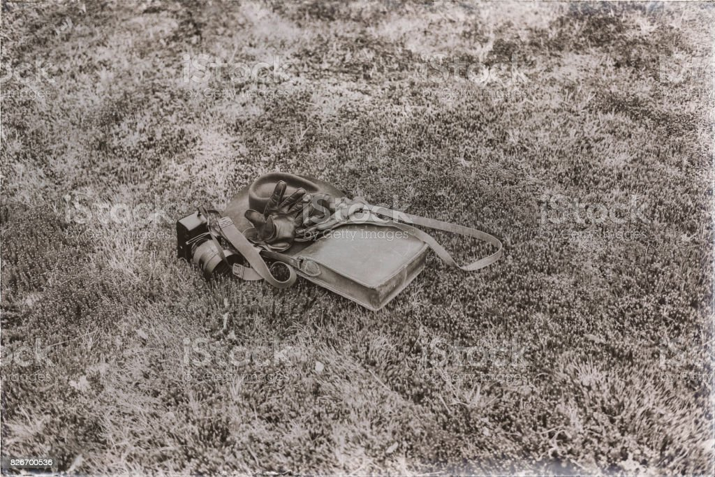 Old sepia photo of leather bag with gloves and camera lying in meadow. High angle view. stock photo