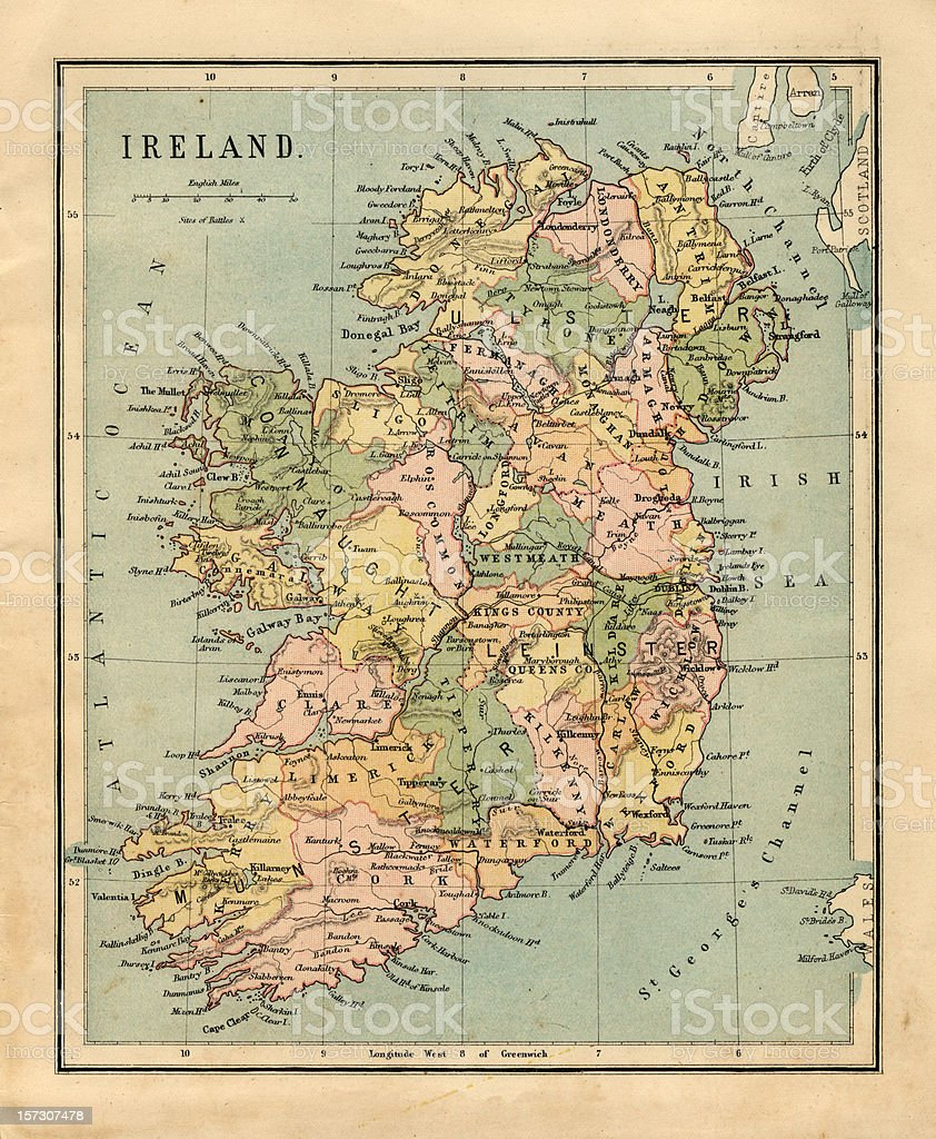 Old, sepia-colored map of Ireland stock photo