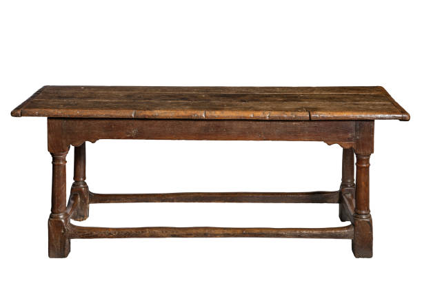 old seventeenth century oak refectory dining table - tisch antik stock-fotos und bilder