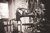Small Business, Tailor, Souq, Bazaar - Black and White Image of an old Sewing Machine