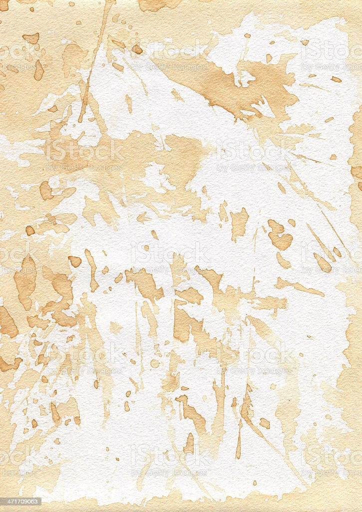 Old shabby paper. Drenched tea. Spots. royalty-free stock photo