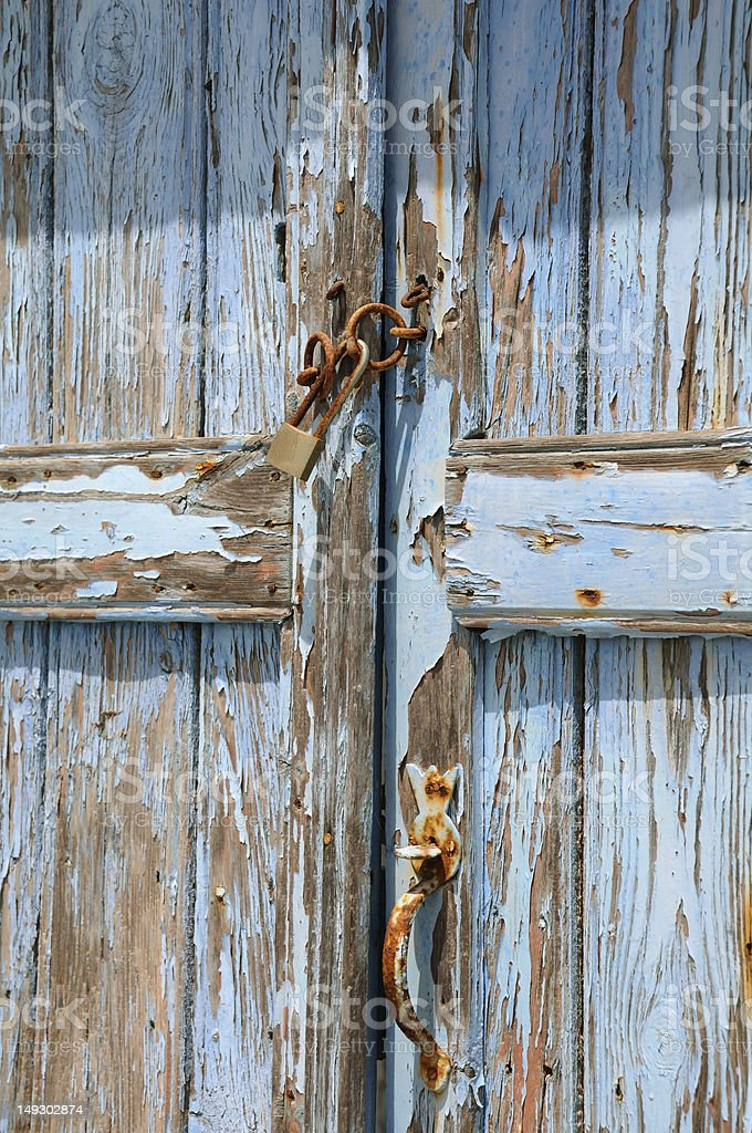 Old Shabby Unpainted Door royalty-free stock photo
