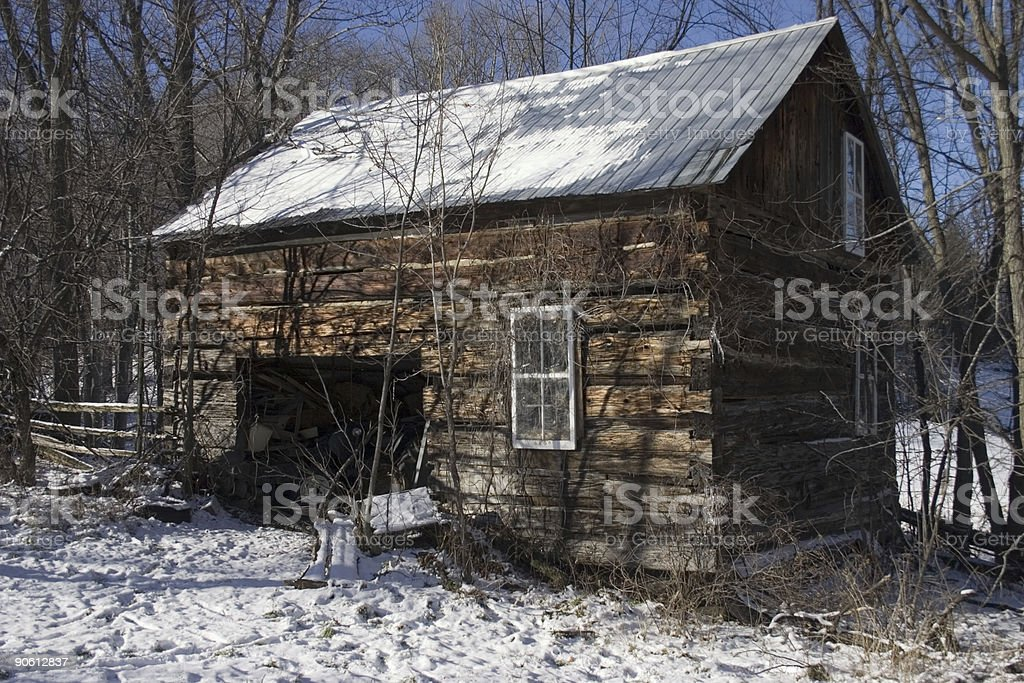 Old shack in winter royalty-free stock photo