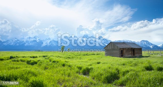 Old shed in green grass field in front of Grand Teton mountainsOthers from the western United States: