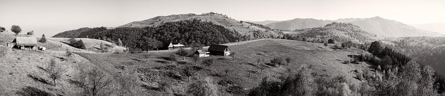 old sheepfold on the top of the hill in the fall season, Fantanele village, Sibiu county, Romania