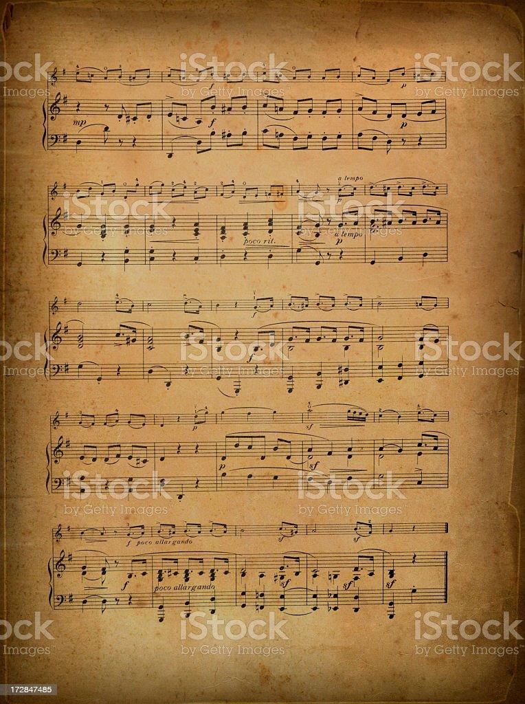Old sheet music stock photo
