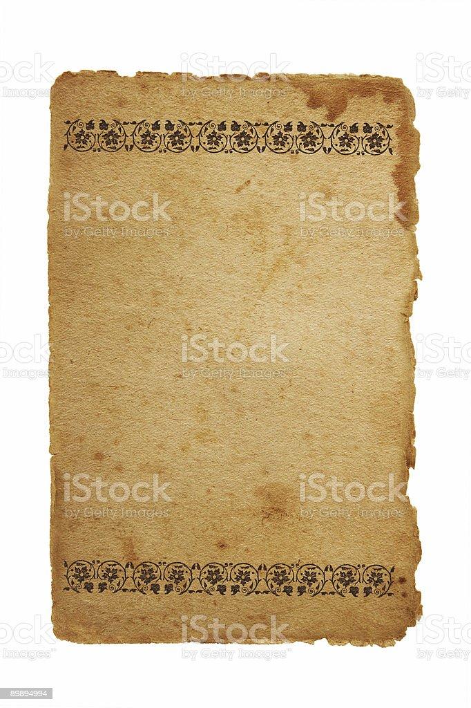 Alte Blatt Papier mit floral Elemente Lizenzfreies stock-foto