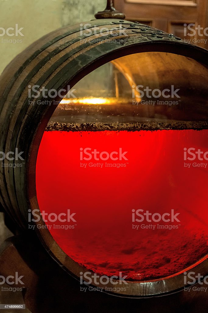 old sherry barrel with glassfront stock photo