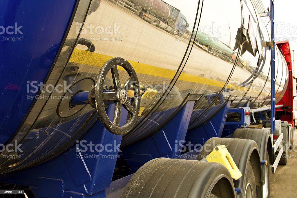 old shiny gasoline truck stock photo