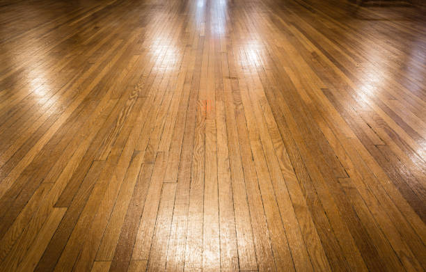 old shiny polished hardwood floor. stock photo