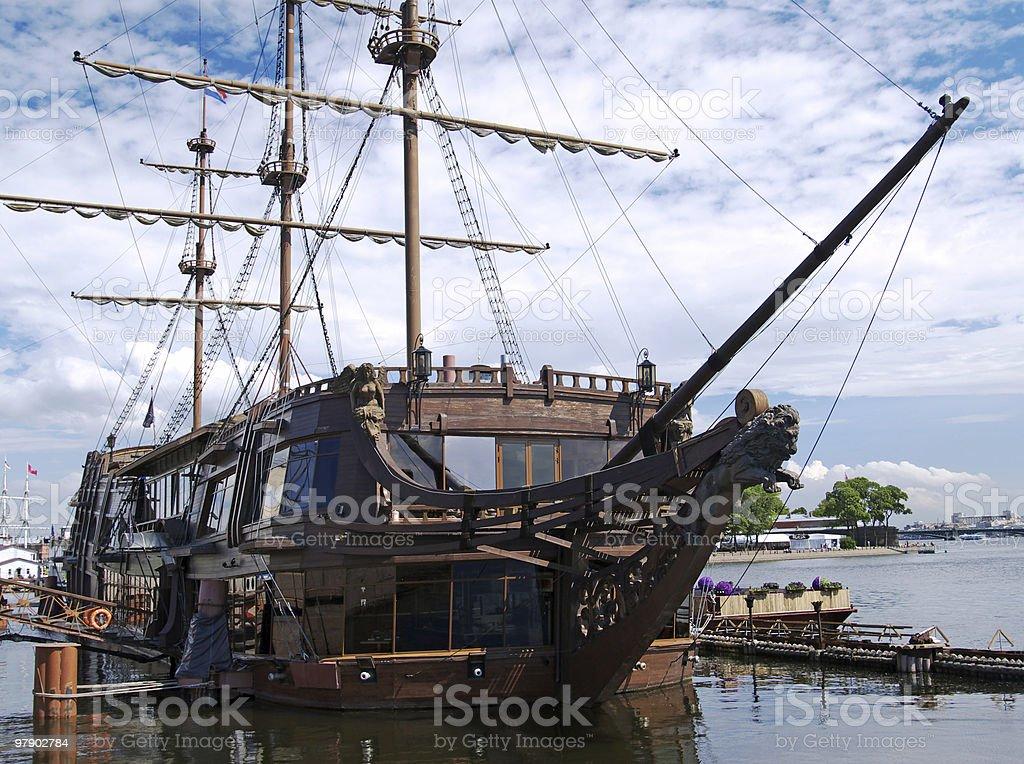Old ship at mooring royalty-free stock photo