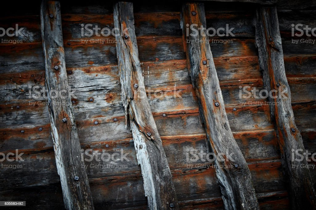Old ship board. stock photo
