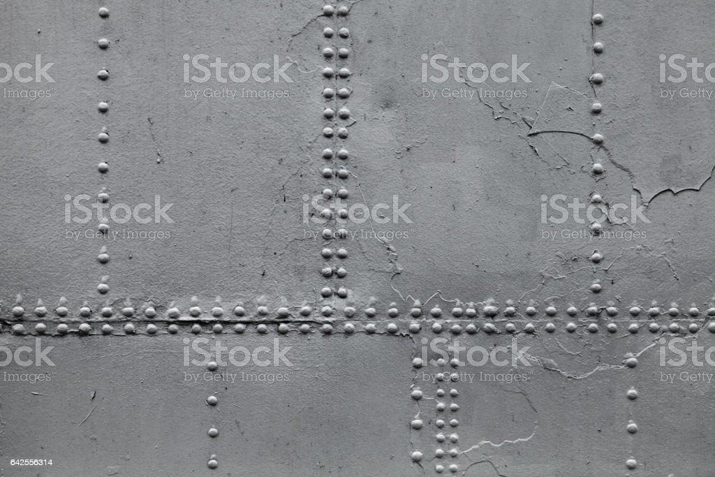 Old ship hull fragment, gray metal wall stock photo