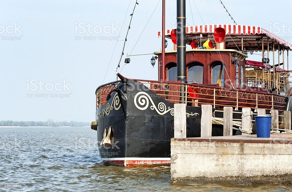 Old ship in harbor at Lake Balaton royalty-free stock photo