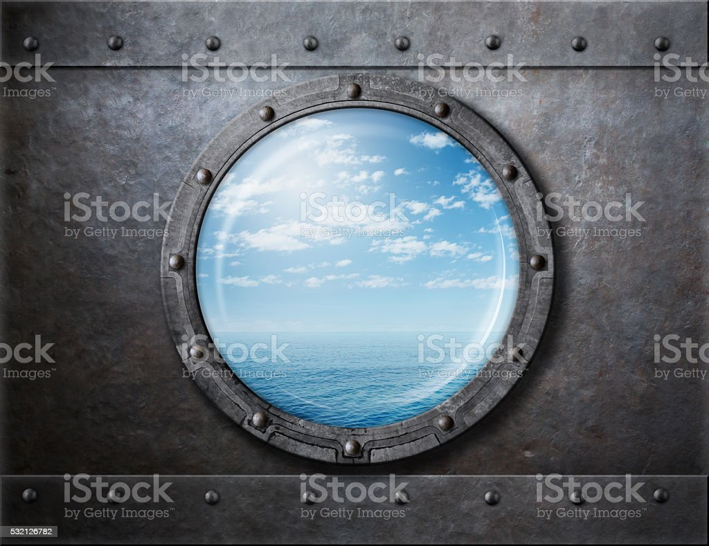 old ship rusty porthole or window with sea and horizon stock photo