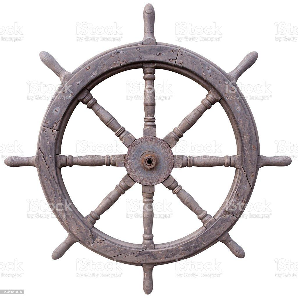 Old ship steering wheel stock photo