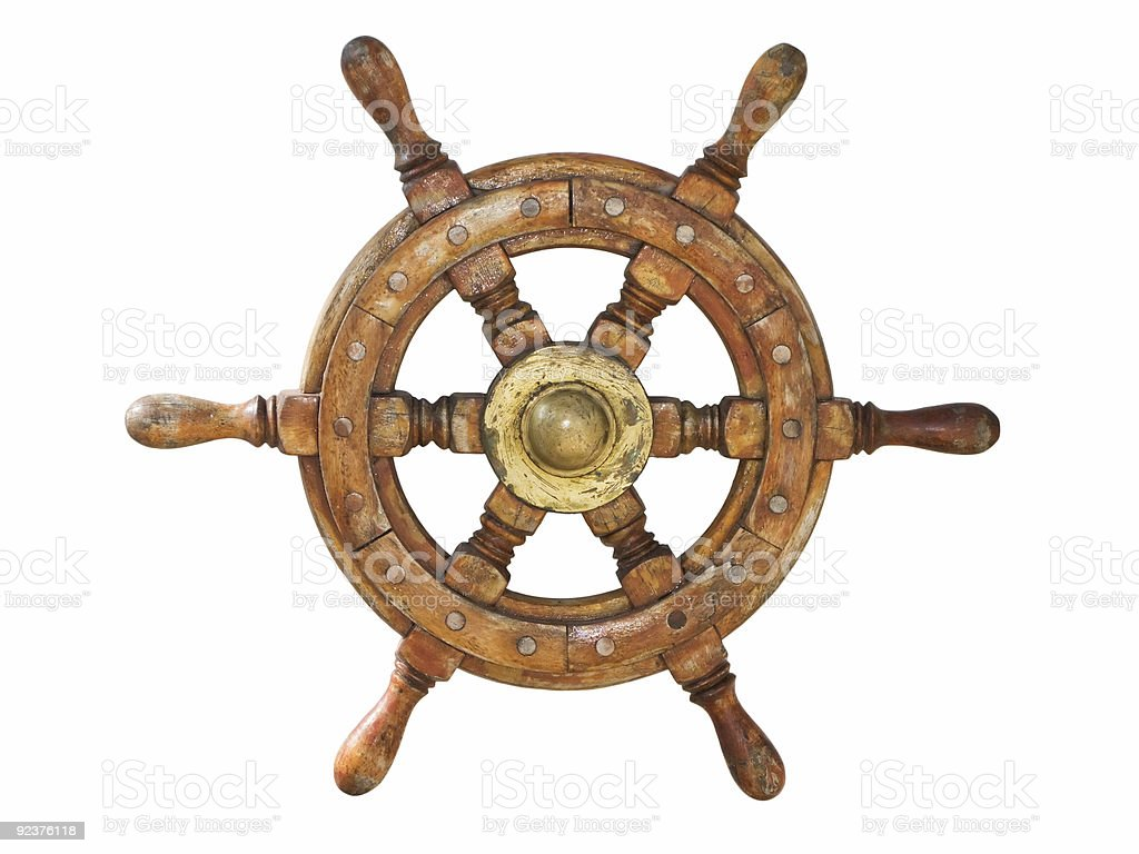 Old ship wheel stock photo