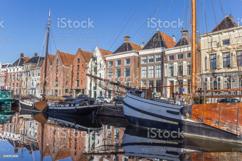 Old ships and warehouses in the historical center of Groningen, Netherlands stock photo