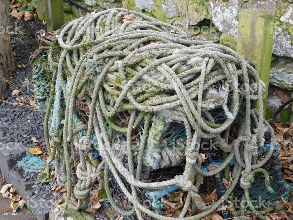 Old Ship's Rope on Lindisfarne (The Holy Island) stock photo
