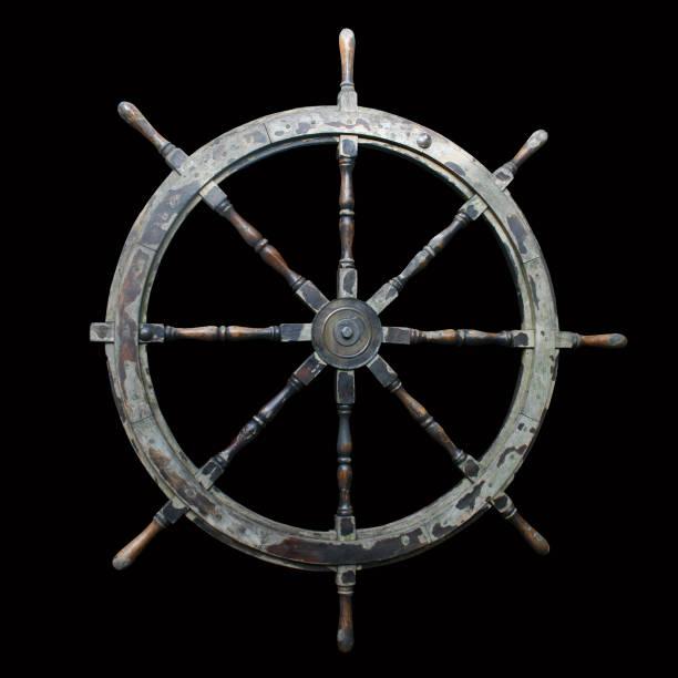 gammalt skepps hjul isolerat - wheel black background bildbanksfoton och bilder