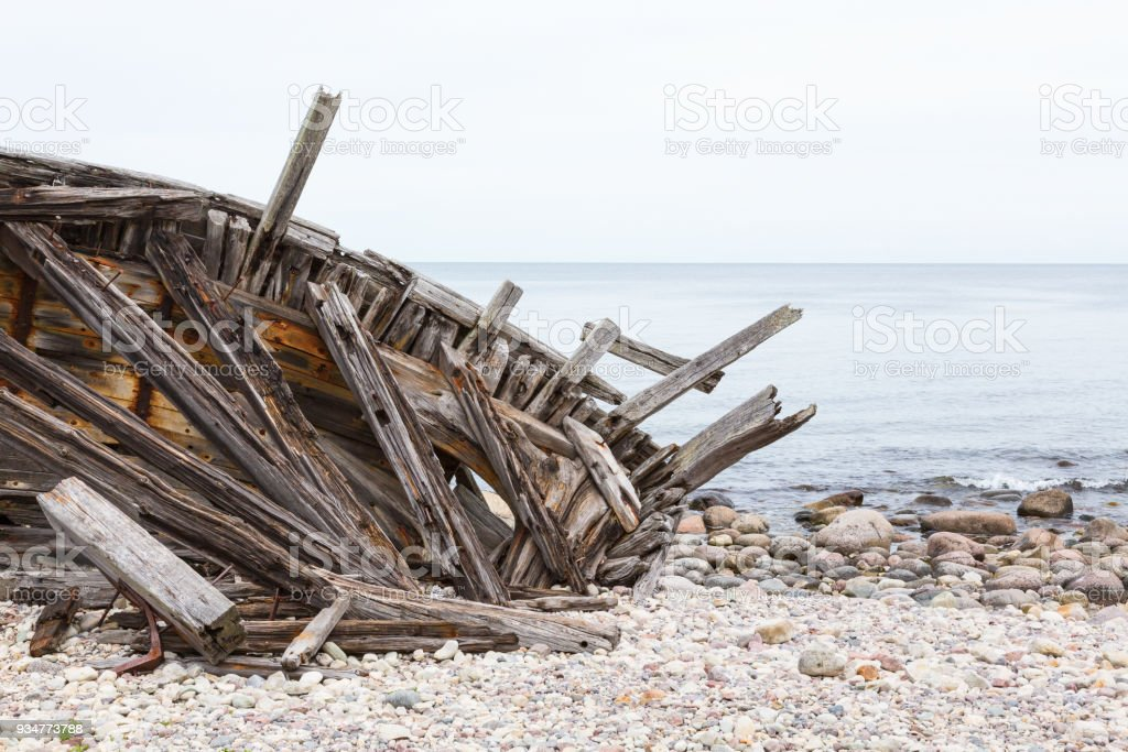Old shipwreck stock photo