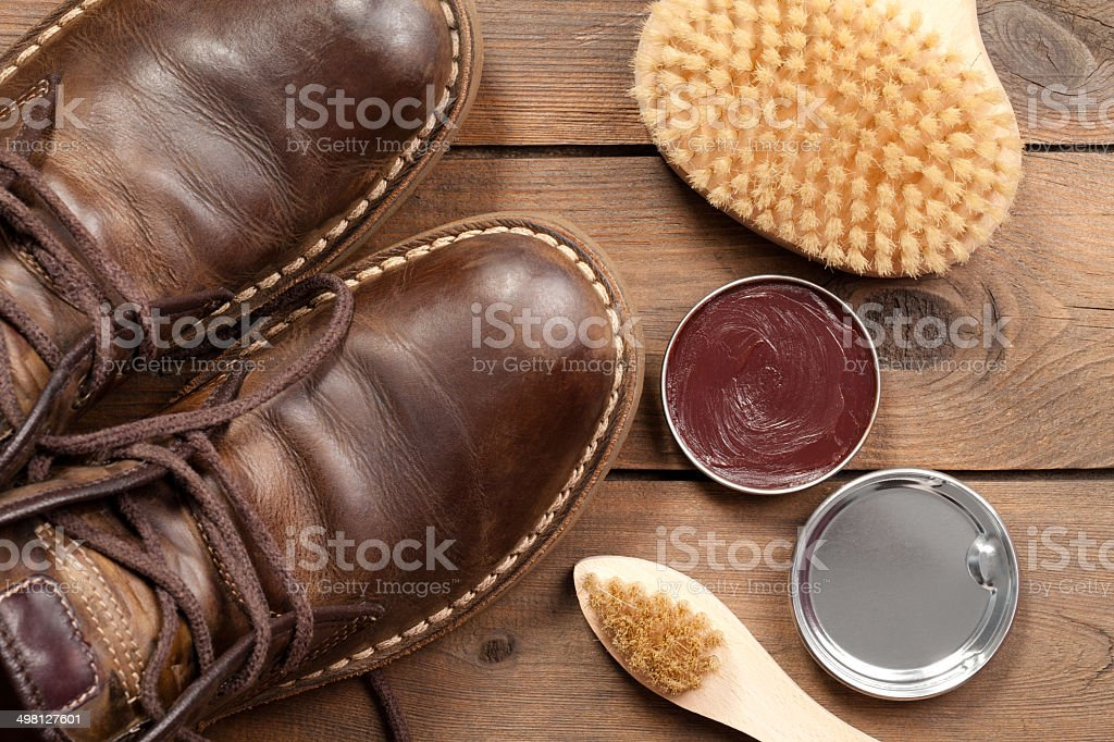 Old shoes and Shoe polish stock photo