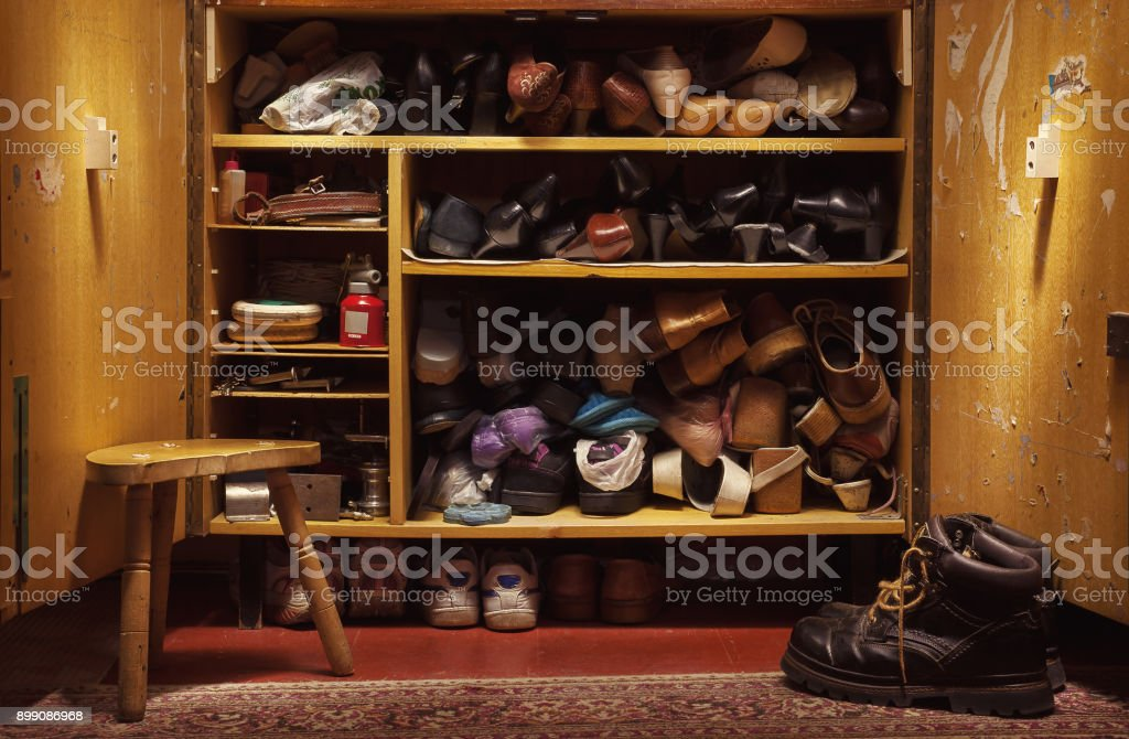 Old Shoes in Closet stock photo