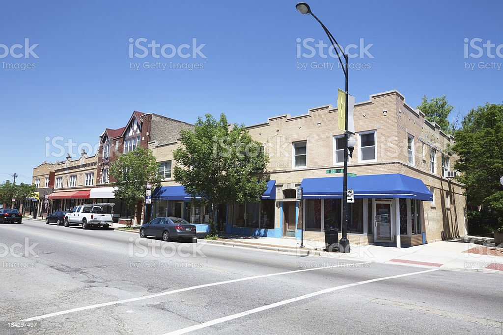 Old shop buildings in North Park,  Chicago royalty-free stock photo
