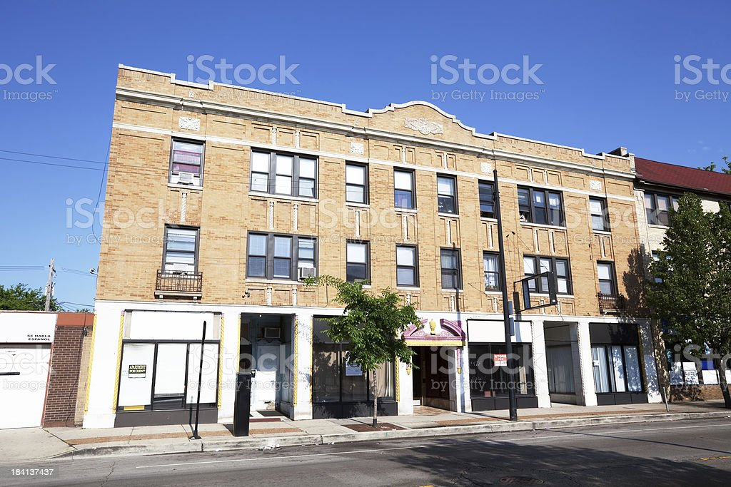 Old Shops for rent in Albany Park, Chicago royalty-free stock photo