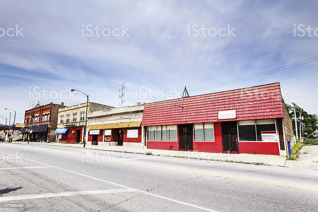 Old Shops in Washington Heights, Chicago royalty-free stock photo
