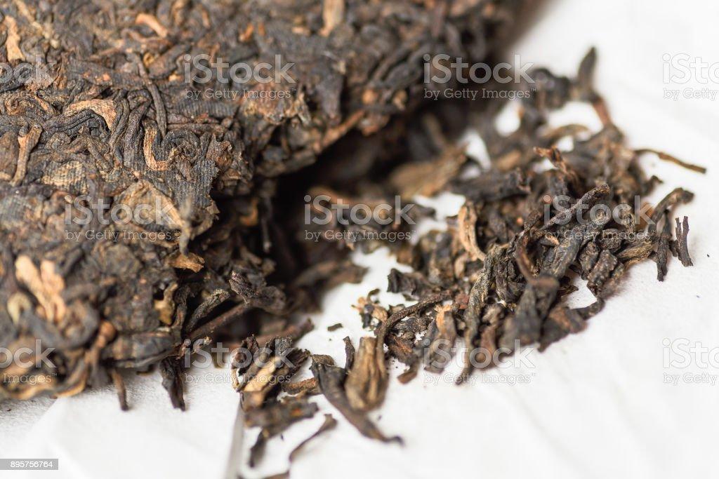Old Shu Puerh Chinese fermented black tea, macro photo stock photo