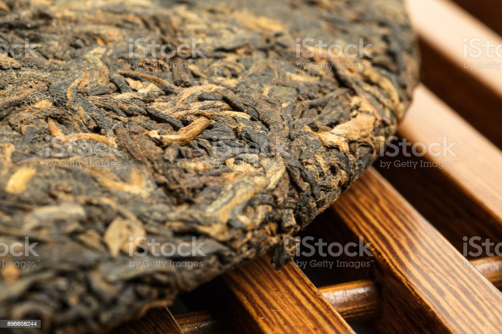Old Shu Puerh Chinese fermented black tea, selective focus stock photo
