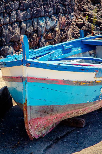 Old sicilian boat, Sicily, Italy stock photo