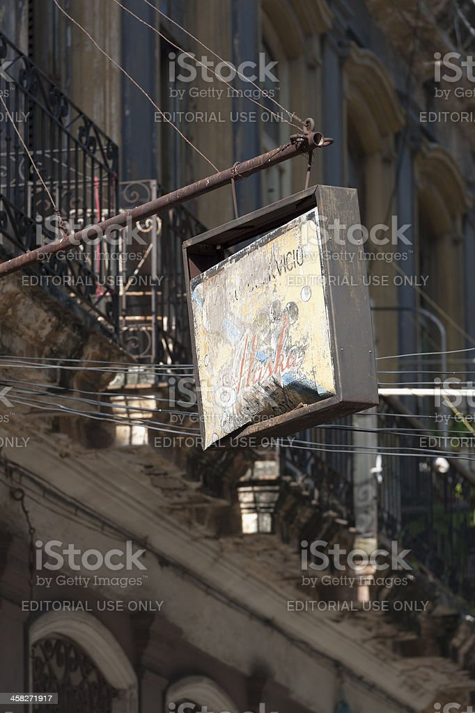 old sign in downtown, havana, cuba royalty-free stock photo
