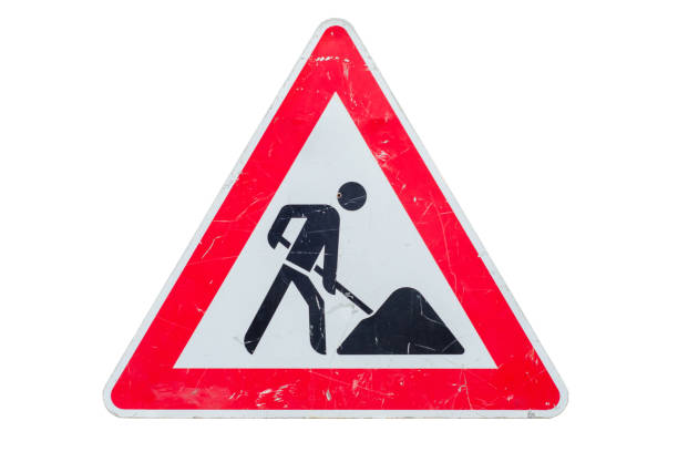 old sign road work - under construction icon foto e immagini stock