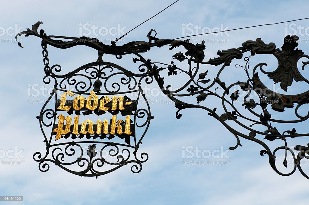 Old signboard at the Vienna`s street royalty-free stock photo