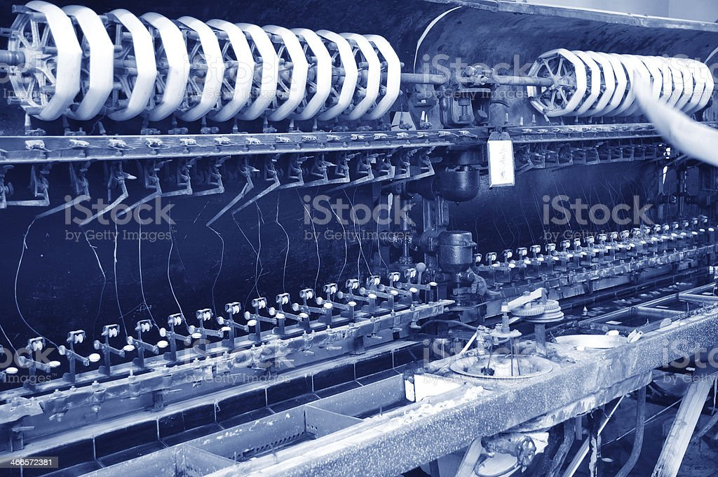 Old silk reeling machine in filature royalty-free stock photo