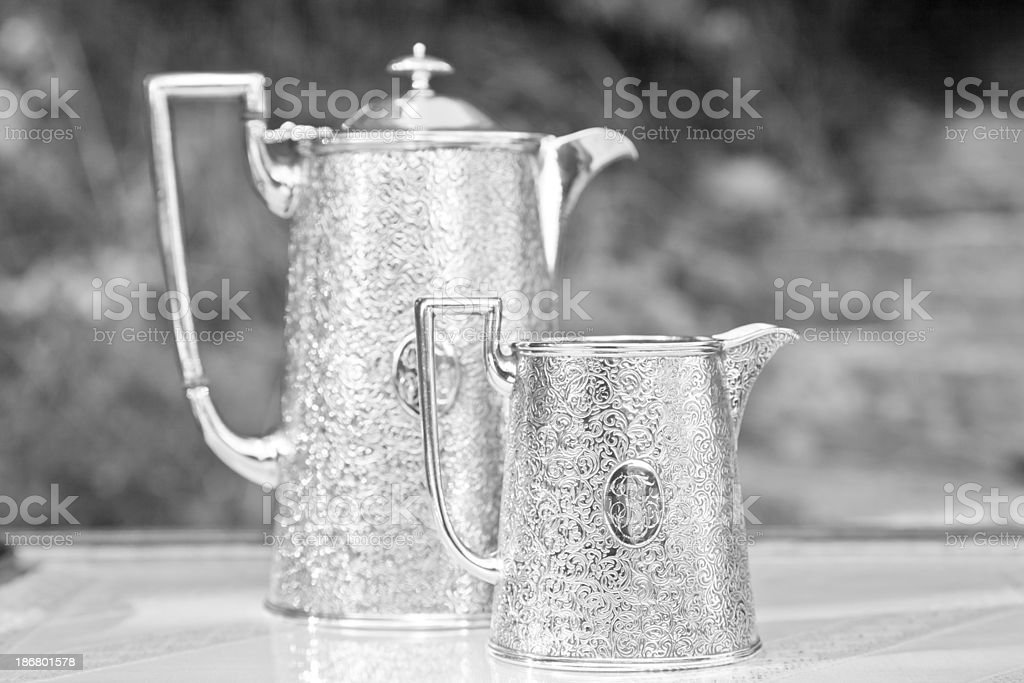 Old silver coffee service royalty-free stock photo