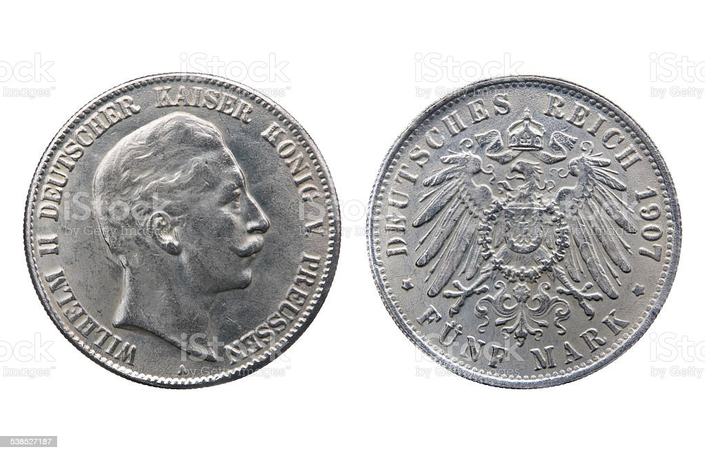 Old silver coin of German Reich stock photo