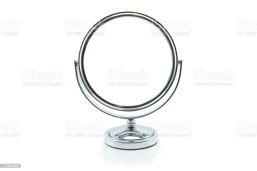 Old silver makeup mirror isolated on white stock photo