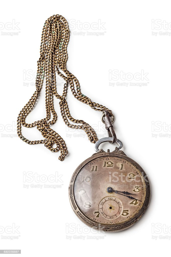 Old silver pocket watch stock photo