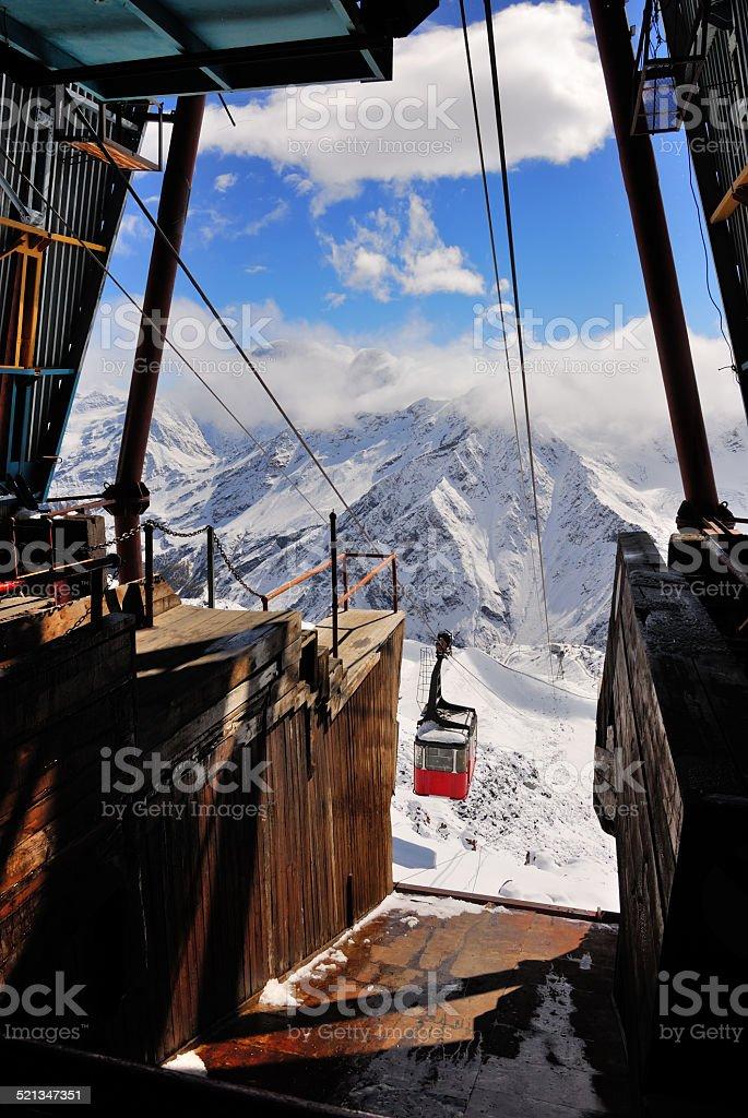 Old ski lift station stock photo
