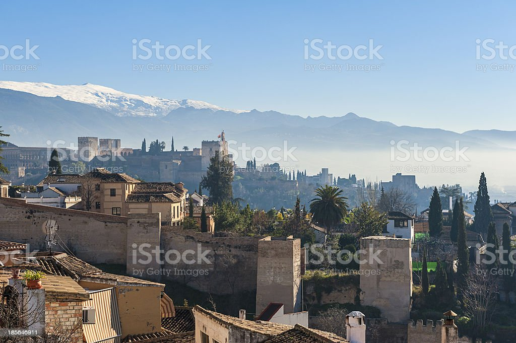 Old Skyline of Granada Spain stock photo