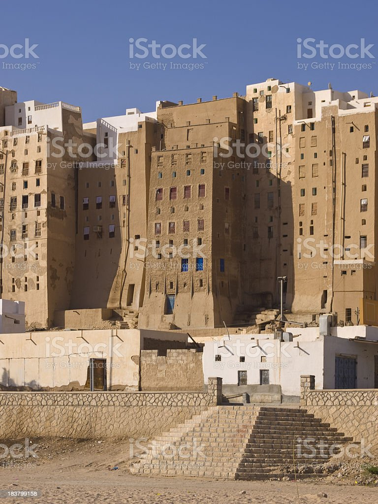 Old skyscrapers in downtown Hadramaut royalty-free stock photo