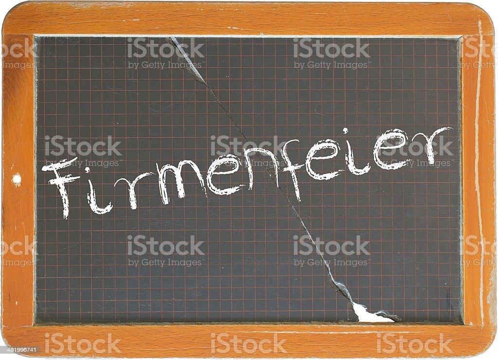 Alte Schiefertafel mit der Aufschrift Firmenfeier stock photo