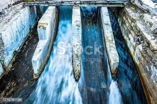 old sluice at a dam