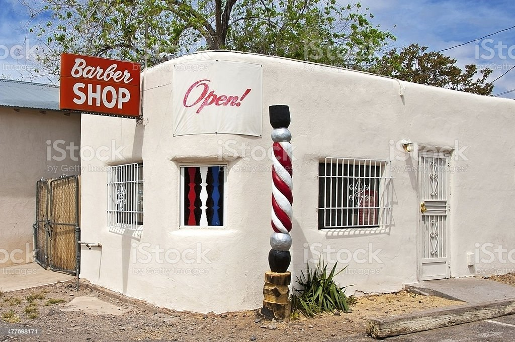 Old Small Town American Barber Shop with Pole stock photo