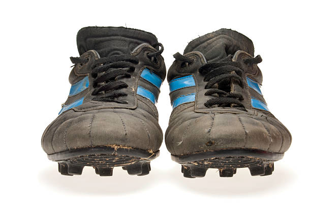 old soccer shoes shooting front  studded stock pictures, royalty-free photos & images