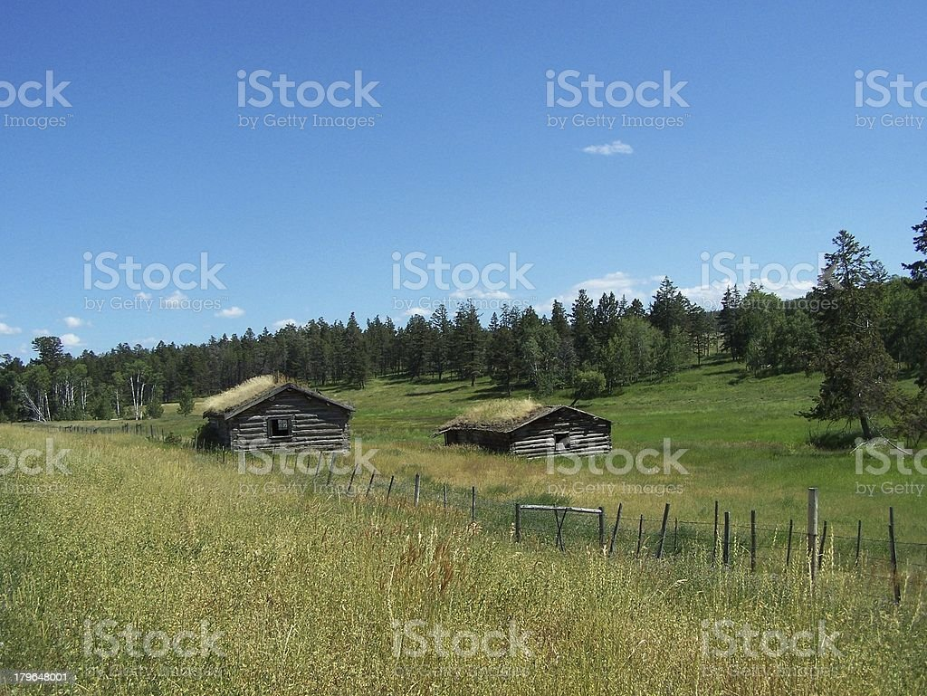 Old sod roofed cabins scenic royalty-free stock photo
