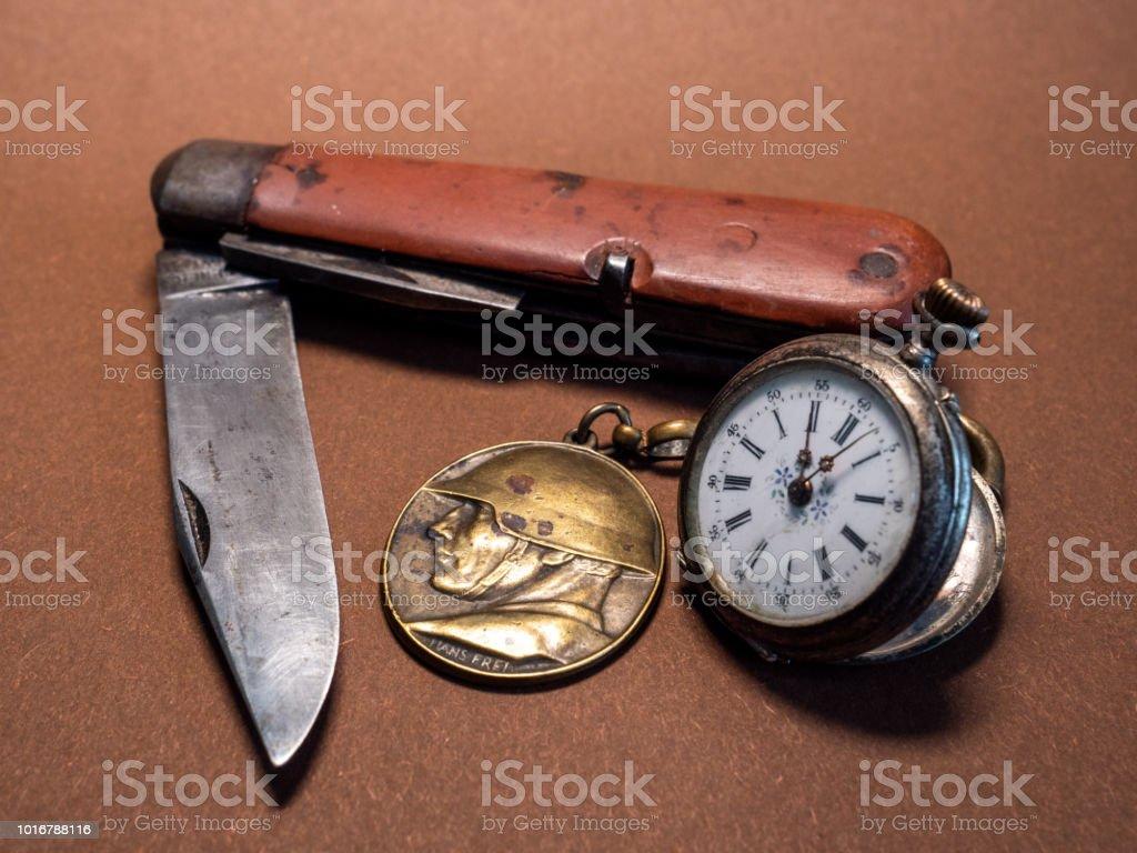 Alten Soldat Sachen Vintage Antik Militar Taschenmesser Mit Tasche